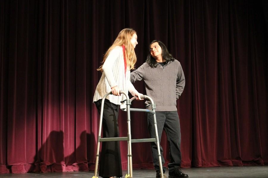 Junior Genevieve Walker and senior Andy Portillo rehearse for this Springs ASL show. The show is Thursday, March 24 and Friday, March 25 at 7pm in the CAC. The theme for this show is decades.