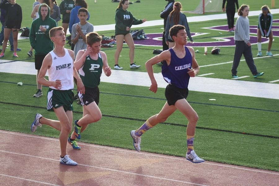 Thursday, March 17 track had a meet competing against Poway. In the lead, and representing Carlsbad is Mitchell Scaglione. The boys run distance.