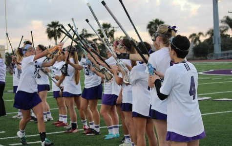Varsity girl lacrosse play  Westview on Tuesday March 29.  The home game ends in a win for the Lancers, 11-9.