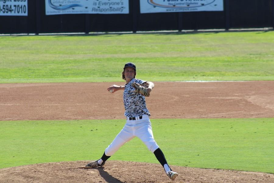 Senior, Jack Peabody throws a pitch against Mission Hills at their game on Thurs. Mar. 31. The final score was 3-0 Lancers.