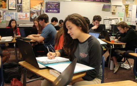 Senior Marisol Villalpando works in Mr. Spanier's English 4 AP class. These students carry a heavy workload and develop themselves as writers.