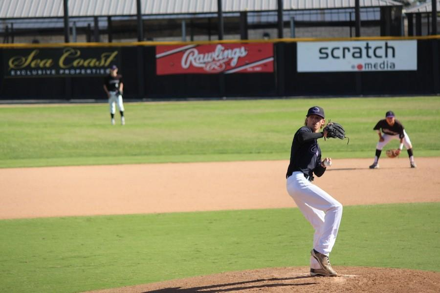 Grant Eidschun pitches the ball to the Santa Fe Christian batter. Carlsbad played a good game.
