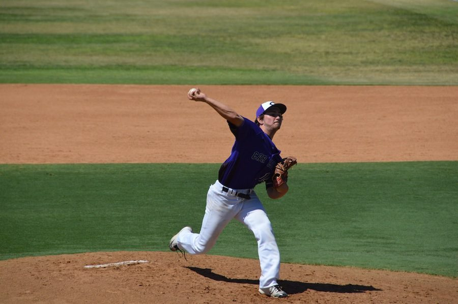Senior, Dylan Tinley, pitches against Vista on Sat. April 23. The Lancers come up short, the score coming to 1-4, Vista.