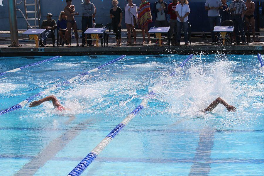 On Tues. April 12 swim and dive competed against Santa Fe Christian. Lancers ultimately won the race for both girls and boys divisions.