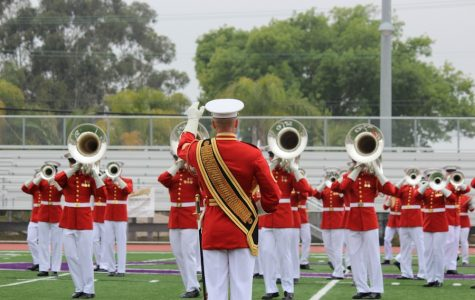 The USMC's Drum and Bugle Corps  open the Battle Color Ceremony for Carlsbad High School  on Mar.11.