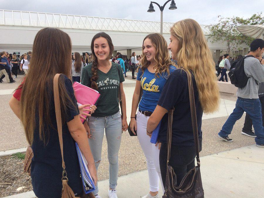 Seniors Sarah,Natallie,Kayla,Claire and Aimee show their spirit by participating in 'college day'. Spirit week was in preparation of prom.