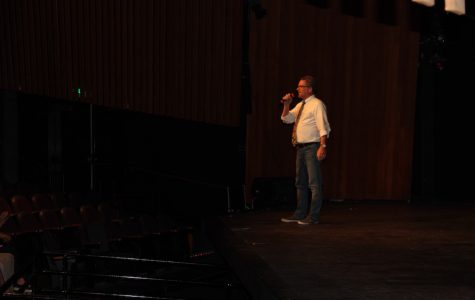 The Film Academy teacher,  Mr. Brandmeyer introduces the audience to the first film at Carlsbad High's film festival. On Tues. May 18, The film academy's first ever film festival was held in the CAC, showcasing various films made by students at CHS.