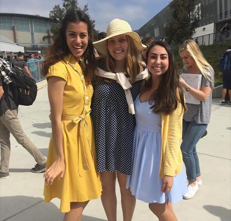 Juniors, Sophia Gerdes, Lexi Molnar and Jen Schlinge show their off fancy outfits for prom spirit week. Wed. May, 18 students of Carlsbad High School were encouraged to participate in dapper day.