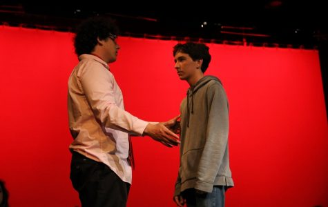 On Friday, June 10 theatre performed their last show, The Monologue Show. The show is about a class who for there final, each have to present a monologue.  Mr. Banks, played by senior Matt Brent, talks to his student Bradley, played by freshman Adam Oberman.