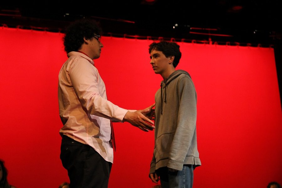 On+Friday%2C+June+10+theatre+performed+their+last+show%2C+The+Monologue+Show.+The+show+is+about+a+class+who+for+there+final%2C+each+have+to+present+a+monologue.++Mr.+Banks%2C+played+by+senior+Matt+Brent%2C+talks+to+his+student+Bradley%2C+played+by+freshman+Adam+Oberman.+