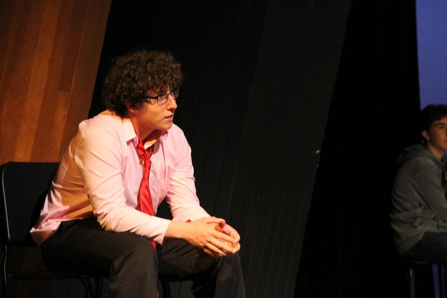 Senior, Matt Brent, plays the teacher Mr. Brown and watches his students perform their monologues.