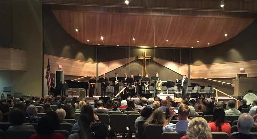 Parents and peers from Carlsbad watch as the high school band performs their show. Fri. June 3 the CHS band performed at the Carlsbad Community Church, encouraging students and staff to come, showcasing what they had been working on all year.