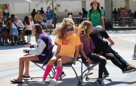 CHS students participate in a game of musical chairs with hopes to win and take home a neon loud crowd shirt. Fri. Sept. 23 Carlsbad had their second pep rally of the year with multiple games and prizes for students to participate in and take home.