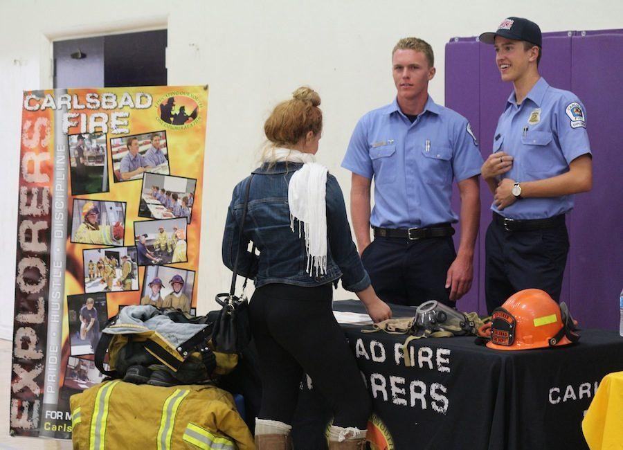 A Carlsbad student expresses her interest in the Carlsbad Fire program during the College and Career Fair. This informational event was hosted by CHS on Wed. Sept. 23.