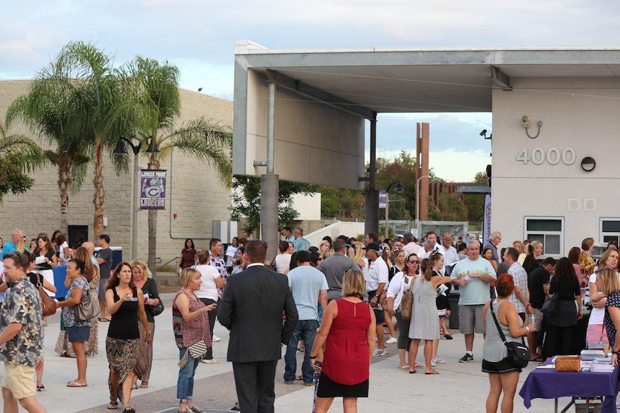 Parents gather in the quad . On Tuesday, September 27, Carlsbad High School had the annual back to school night.