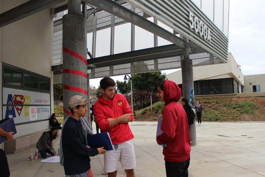 Seniors Justin Falcone, John Kounelis, and Eli Hernandez enjoy and promote Red Ribbon Week by wearing red. On Monday 10/24, Carlsbad School District kicked off their annual Red Ribbon week encouraging all children to stay away from drugs.