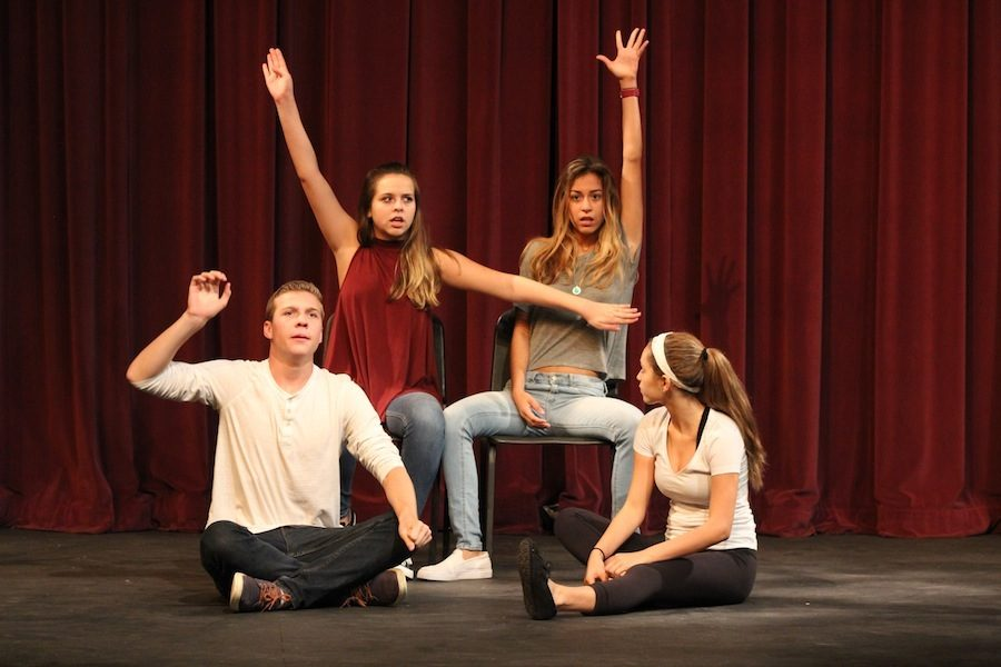 On Wed, Sept 28 Theatre students rehearse for a competition coming up. The students ran through their monologues, singing, and acting performances for their friends and family before the big competition.