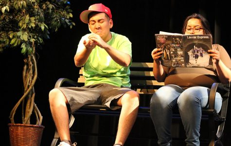 Pedro Melgoza and Monica Campuzano perform the bubble gum skit in the ASL Show on November 16th. The comedy skit was performed by students in ASL 4 and shows the cycle of  a piece of bubble gum left on a bench.