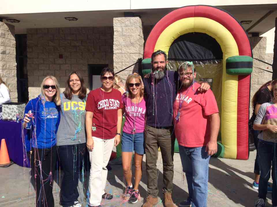 Mr. Edgerly (far right) poses with Aviara Middle school colleagues .