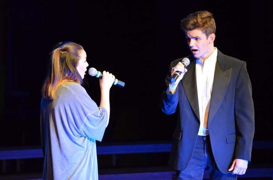Two Carlsbad Seniors, Ben Little and Abigail Li sing together at the Winter Showcase. It was held on Dec. 2 and featured Sound Express as well as the middle school group Sound Sensation.