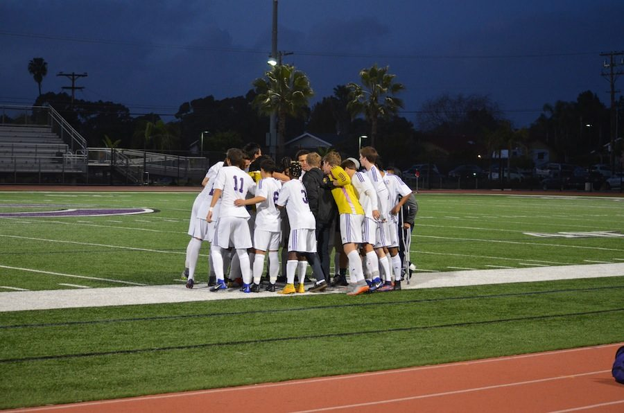 Boy's soccer huddle up to start the game. On Thursday, the 19th of January the Lancers took on the Mavericks in an undisputed rivalry. At the end of the night they ended in a tie 0-0.