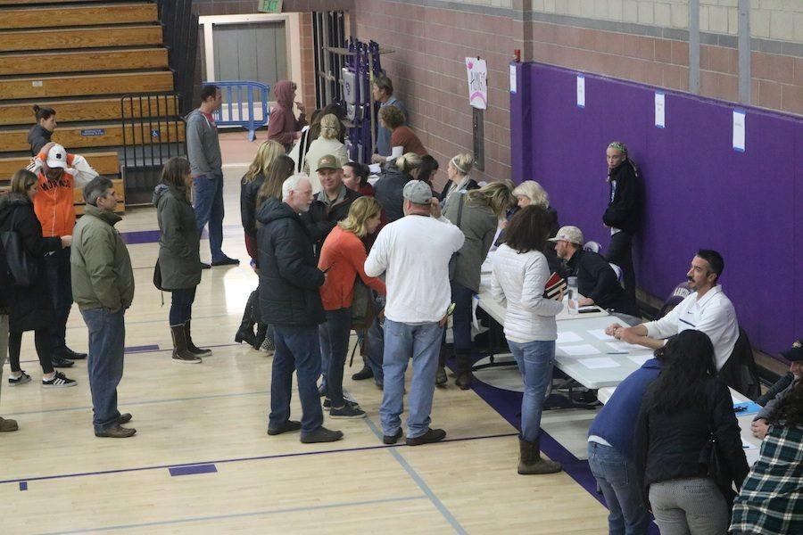 Coaches from each spring sport line up as parents sign in interested athletes for upcoming tryouts. Monday, February 6, there was a mandatory spring parents meeting in the Lancer Arena.