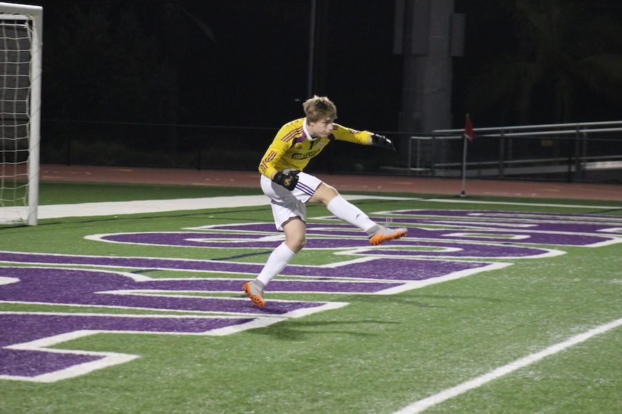 Senior, Seth Ketterer kicks the ball to his fellow teammate. On Thursday, February 16th, The Lancers took on the Bobcats for their senior night. The boys fought hard but ultimately ended up tying 1-1.