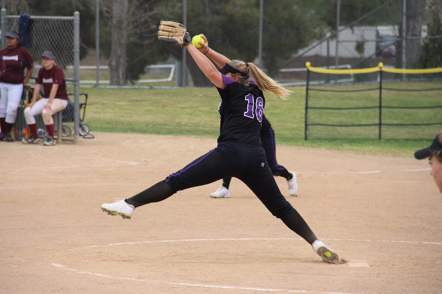 Freshman, Maele Hensch pitches for JV sotball and pitched and played an excellent game against RBV.