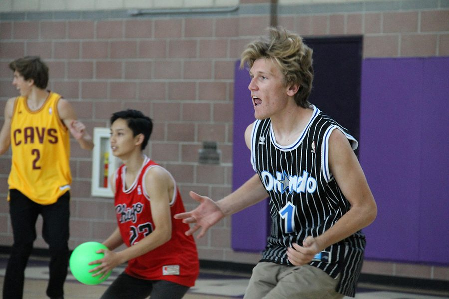 Senior Jack Clinnin focuses intently on the incoming throws from his opponents in the first annual Dodgeball Tournament.