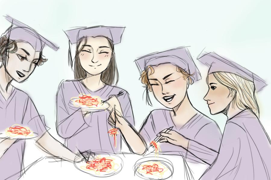 Seniors+celebrate+with+spaghetti