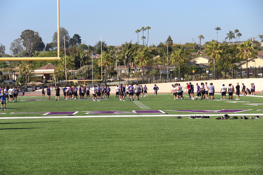 Lancer football players stay fit by practicing after school every week.