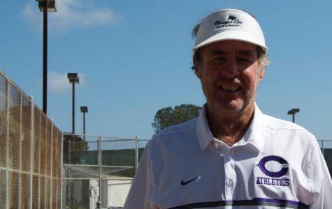 Coach Edward Kardas of the junior varsity tennis team before the match against San Marcos.