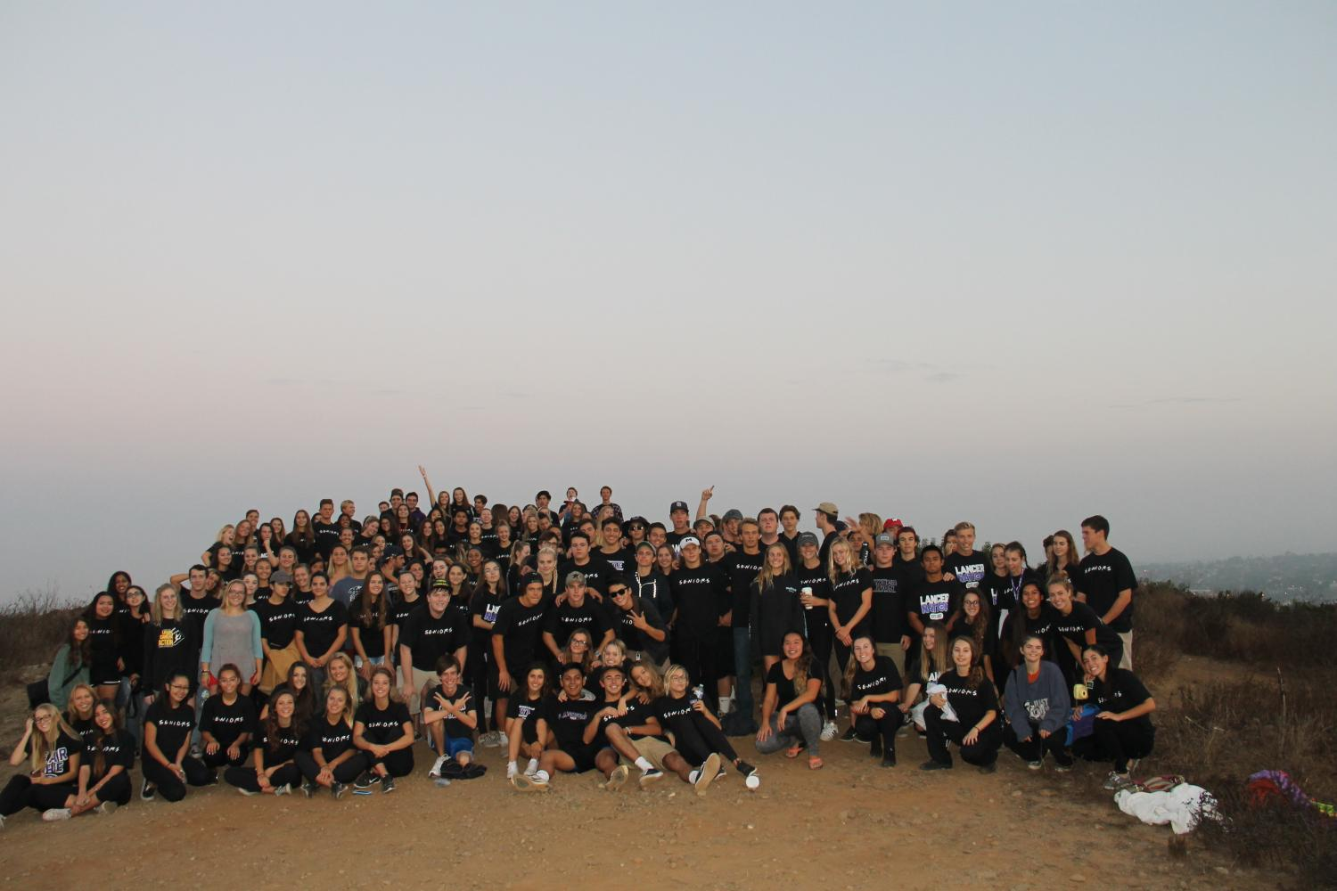 The senior class of 2018 gather at the top of Calavera Mountain to celebrate the beginning of their senior year, Sunday, Sept. 10.