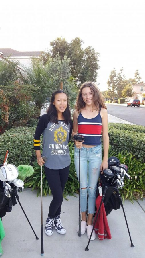 Freshmen Sabrina Sanchez and Sofia Charvel, play alongside each other on the varsity golf team. The girls were the only freshmen on the varsity golf team this year.