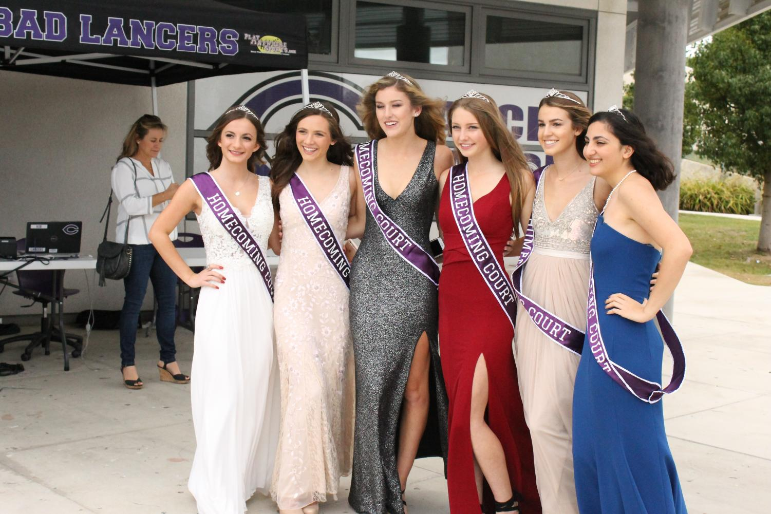 The Homecoming princesses pose for a photo before the assembly. The court attended the dance on Saturday night, and spent the night dancing with friends.