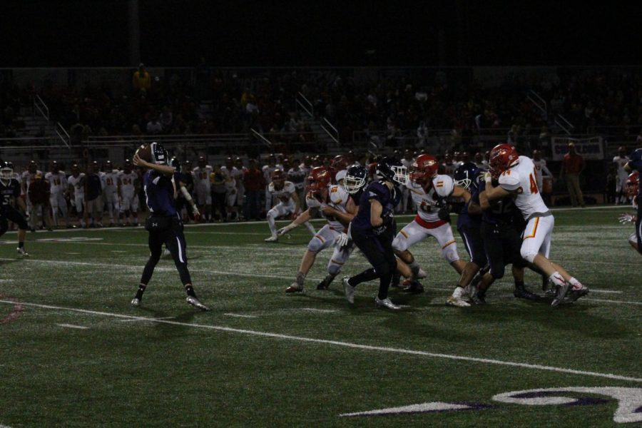 Senior Troy Bloomquist rockets a pass to Junior Asa Turner. This pass was able to gain us ten yards for the first down.