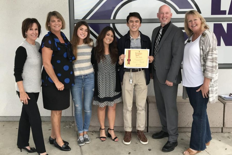 Senior Max Ward is awarded Inspirational Student of the Month by NBC 7 San Diego, Wednesday, Nov. 8. Ward was surprised by a TV crew and his family during his fourth period, ASB.