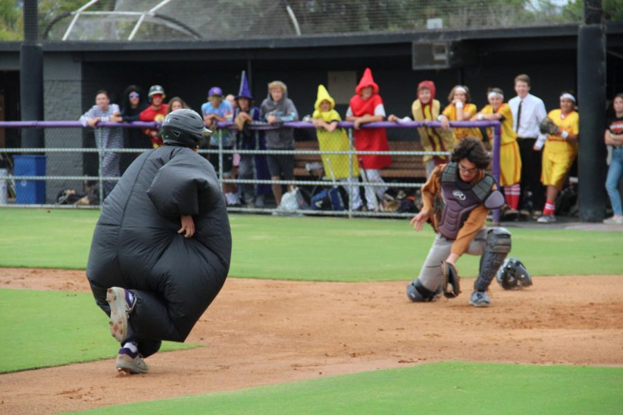 Sophomore Jagger Cadman running into home plate in the Halloween costume scrimmage. This scrimmage is something to look forward to for all baseball P.E. students.