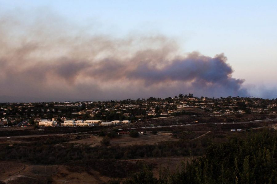 The Lilac Fire in Bonsall, California can be seen from Carlsbad. Schools throughout San Diego County were closed due to the smoke and quickly spreading flames.