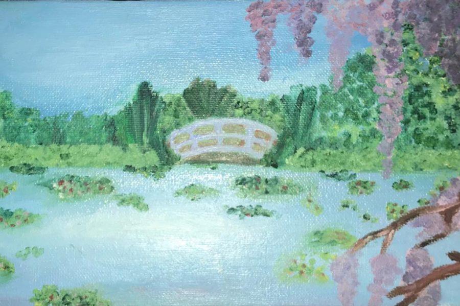 Freshman Grace Burchs painting of a lake and bridge.