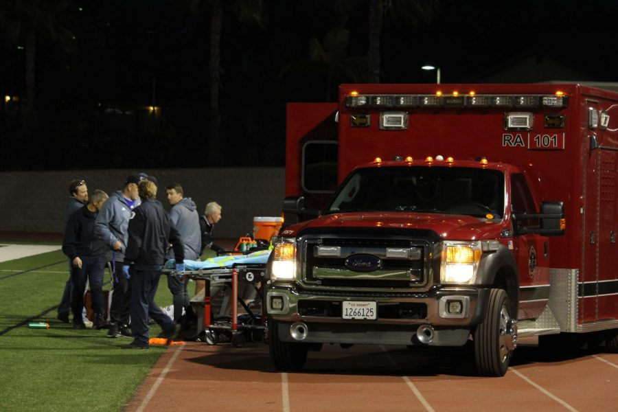 Sophomore Mateo Esquivel suffers from a compound fracture on his right arm. During the JV soccer game against El Camino, he hit the bench while going for the ball.
