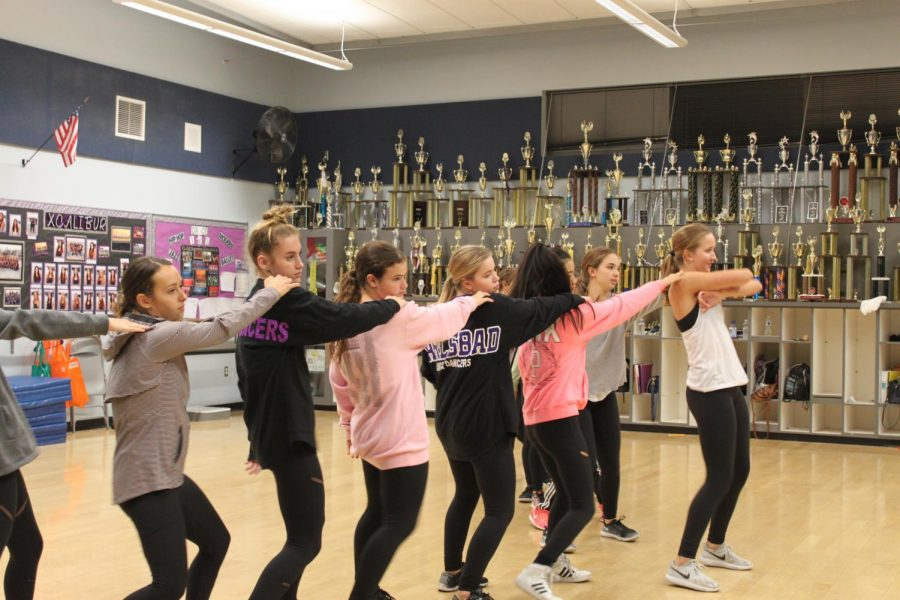 Carlsbad Lancer dancers practice for many hours for their upcoming showcase here in CAC.