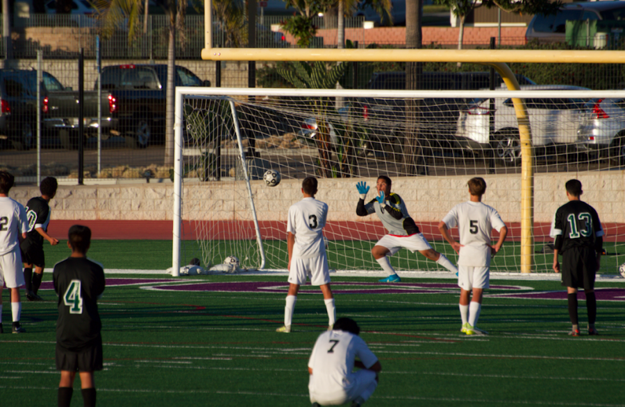 Oceanside was given the opportunity of a penalty kick dangerously close to the goal. Fresh man goalie deflected the shot leading Carlsbad to a 1-0 victory.