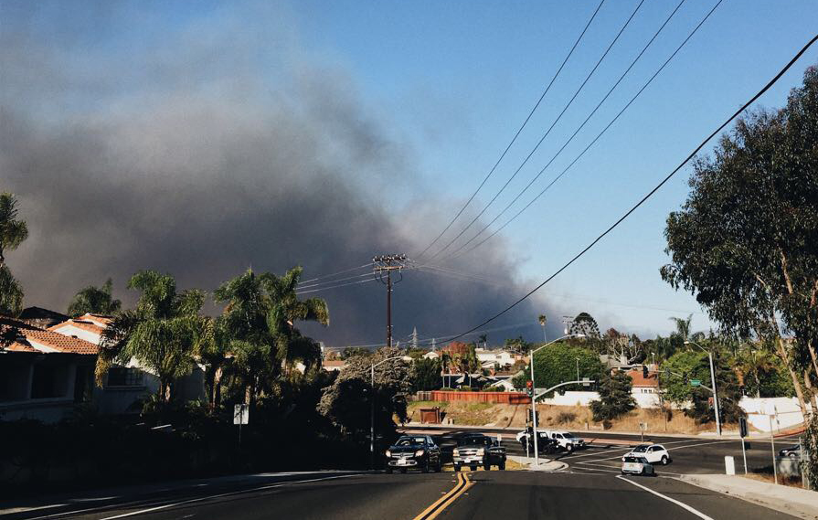 While the Lilac fire is in Bonsall, students and Carlsbad residents could see the smoke and ashes in the sky.