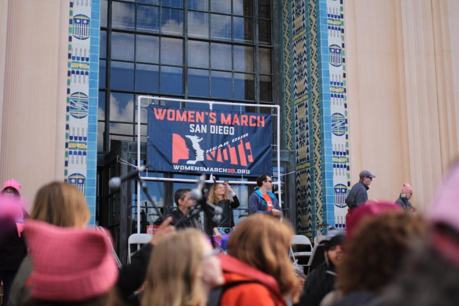 People gather at the Waterfront Park in downtown San Diego for the anniversary Women's March, Saturday, Jan. 20. Around 37,000 people gathered to march in San Diego.