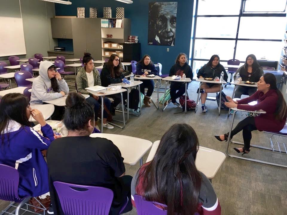 Hermanitas members meeting in their old classroom