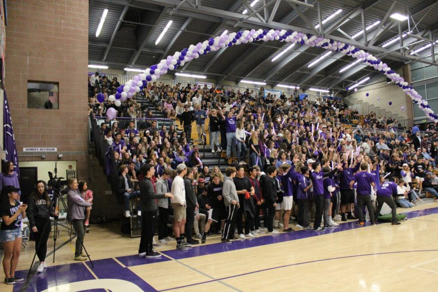 Students of Carlsbad high come together to support the final basketball home game. Carlsbad was able to secure the win with a score of 51-53.