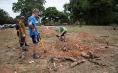 Sophomore Christian Young works on a service project in Peru