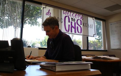 Mr. Brockett doing desk work to improve CHS. He has been a vice principal at Valley Middle School and the principal Aviara Oaks Middle School.