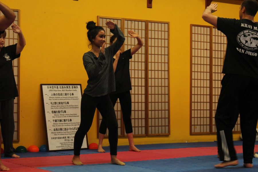 Sophomore Christine Apostol practices Krav Maga at her studio in Carlsbad.